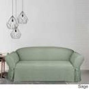 Sure Fit Mason 1 piece Love Seat Slipcover Box Cushion in Green w/straight skirt