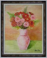 ARTE NAIF- natura morta vaso di fiori olio vetro ENRICO COPETTA CO.EN 1925-1989