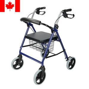 LIVINGbasics® Blue Rollator Folding Walker Adult 4 Wheels 300lbs/136kgs