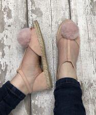 Pink Pompón Alpargatas Talla 8 Imitación Gamuza Tacón Bajo Peep Toe Sandalias Fluffy Tbar