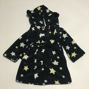 Target Dressing Gown Size 1 (12-18 M) Black with Yellow & White Stars Hooded