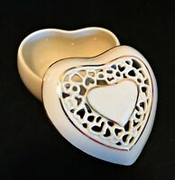 Lenox Trinket Box Heart Shaped Fine China Ivory with Gold Trim 2 inches Tall