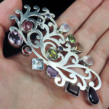 Stunning MULTIPLE GEMSTONE & Solid 925 Sterling Silver Pendant Jewellery