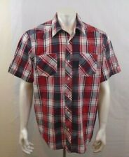 Cherokee Red Blue Short Sleeve Men's Button Up Casual Shirt Size Large