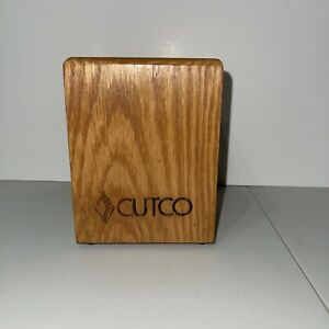 "Cutco Oak Wood Utensil Holder Box Block Caddy Container Made In USA 4""x 4""x 5"""