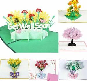 3D Greeting Card Pop-Up Flowers Sympathy Wedding Anniversary Birthday Envelope