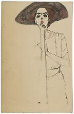 Egon Schiele, Portrait of a Woman, 1910 (large hat) - Poster 11x17 Inches