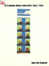 10 X AG13 LR44 SR44 L1154 357 A76 QUALITY ALKALINE BUTTON /COIN CELLS BATTERIES