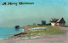 Vintge Christmas New England Coast Art~Lobster Fishing Boat~Ocean~NEW Note Cards