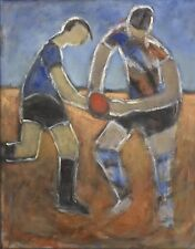 """Original Oil Painting by Valerie Albiston (Aust 1911-2008) Untitled """"The Game"""""""