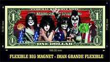 KISS BAND 3 IMAN BILLETE 1 DOLLAR BILL MAGNET LOVE GUN DESTROYER ROCK OVER