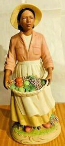"Homco African American Porcelain Lady 10"" Figurine #1456"