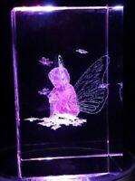3D KRISTALLGLAS QUADER Fee Elfe Kristall Glas Laser Blumen Flügel