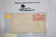 c142 Hawaiian Stamp Cover Scott# U2-b, 1892