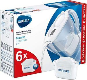 BRITA Marella MAXTRA+ Plus 2.4L Water Filter Jug + 6 Cartridges Pack, White