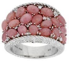 JUDITH RIPKA RHODOCROSITE AND 3/8 CTTW DIAMONIQUE SADDLE RING SIZE 6 QVC $274.00