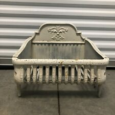 Vintage Antique White 20 cast iron grate fireplace insert wood or coal box Heavy