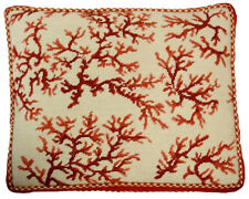 "18"" x 22"" Handmade Wool Needlepoint Red Coral on Ivory Pillow with Cording"