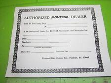 Montesa Authorized Dealership Certificate from Cosmopolitan Motors Vintage