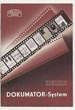 Werbe Broschüre Carl Zeiss Jena Dokumator - System 1958 DDR ! (P1