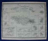 BRITISH ISLANDS, WEST INDIES, JAMAICA, CAYMAN, original antique map SDUK 1844