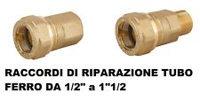 RACCORDO RIPARAZIONE Per TUBO FERRO ZINCATO IN OTTONE Made in Italy