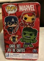 POP MARVEL CARD SET IN COLLECTIBLE TIN  MYSTERY FIGURE INCLUDED