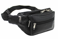 REAL LEATHER ZIPPED SECURE WAIST/ BUM BAG, TRAVEL/HOLIDAY MONEY DOCUMENT POUCH