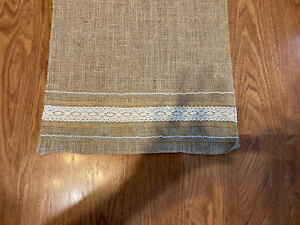 """Handcrafted Burlap Table Runner Lace Trim 14"""" x 54"""" New Wedding Hessian Shabby"""
