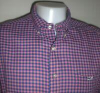 Vineyard Vines Shirt Mens XL SLIM FIT Tucker Whale Blue Pink Check Shep Ian
