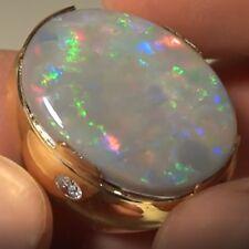 19.66 ct Semi-Black Opal Australia Solid 18 kt Gold Ring w Diamonds (See Video!)