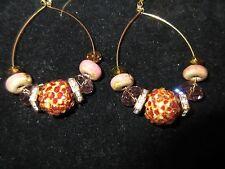 Statement Hoop Earrings Hand-Crafted Rhinestone Crystal Leopard Purple Beaded