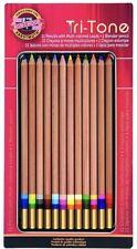 Koh-I-Noor Tri-Tone Multi-Colored Pencil Set, 12 Assorted Colors in Tin New!