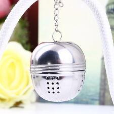 Silver Stainless Steel Teakettles Strainer Tea Locking Spice Egg Shaped Ball GI