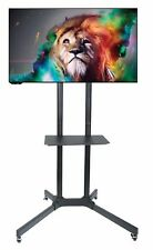 """TV Cart Mobile Free-Standing Stand with Tray Shelf for LCD LED Plasma 32"""" to 65"""""""