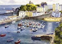TENBY HARBOUR SEASCAPE BEACH BOATS WEST WALES PAINTING 20X30 INCH HD CANVAS