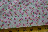 By 1/2 Yd, Pink Hearts, Orange & Green Flowers on White Poly-Cotton Fabric N5196