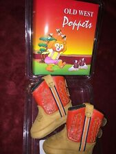 NEW OLD WEST POPPETS BABY TODDLER RED/TAN TEXAS cowboy LEATHER BOOTS SIZE 0.0