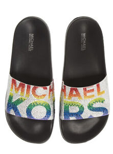 Women MK Michael Kors Gilmore Slide Slip On Sandals Rhinestone Rainbow