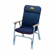 "Garelick 35029 Padded Folding Dck Chair 24""H Frame Seat Navy Blue Boat Marine LC"