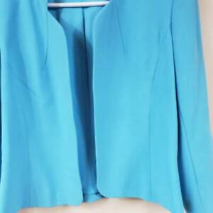 Tahari Womens Collarless Blazer Blue Lined Open Front Fitted Career Jacket 6