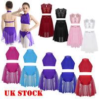 Girl Ballet Dance Dress Leotard Crop Top+Skirt 2-Piece Lyrical Dancewear Costume