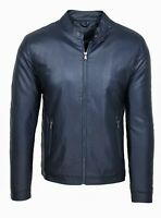 Giubbotto giacca uomo Diamond slim fit blu simil pelle giubbino casual moto