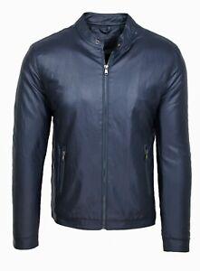 Giubbotto giacca uomo Diamond blu simil pelle giubbino casual moto