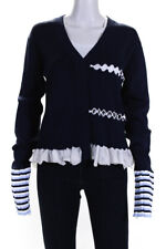 PH5 Womens Clover Bell Cardigan Sweater Navy Blue White Size Large
