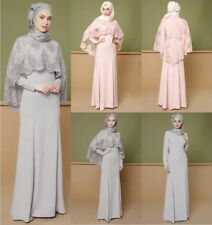 Muslim Women Abaya Maxi Dress+Lace Shawl Islamic Jilbab Cocktail Kaftan Party