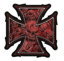 ECUSSON / PATCH BRODE MALTEZER CROSS SKULLS CROIX DE FER AUX CRANES ROUGE THERMO
