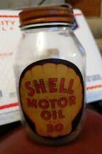 Antique Shell Motor Oil 1 Quart Glass Bottle Jar Sign SAE 30 vintage service