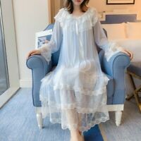Lady Lolita Nightgown Lace Trims Vintage Long Sleeve Nightdress Sleepwear Casual