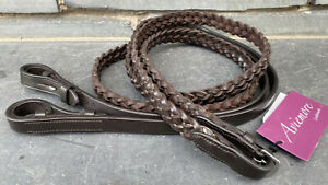 """Shires Aviemore Chunky 3/4"""" Plaited Leather Show Reins - Full Size -Havana/Brown"""